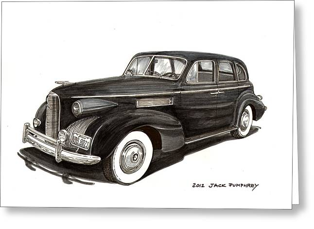 Pen And Ink Framed Prints Greeting Cards - 1939 LaSalle Classic Greeting Card by Jack Pumphrey