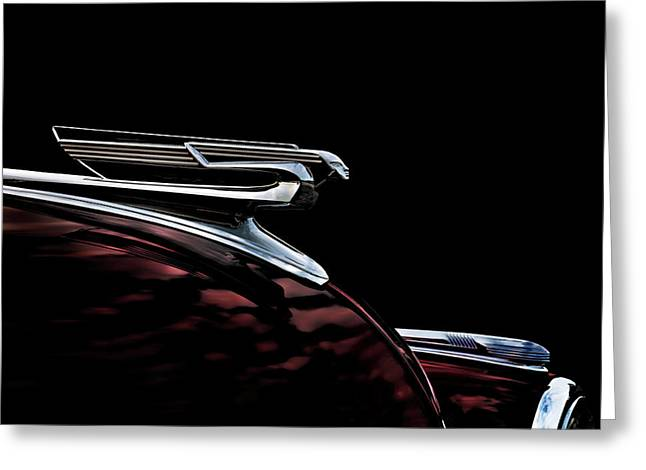 Vintage Greeting Cards - 1940 Chevy Hood Ornament Greeting Card by Douglas Pittman
