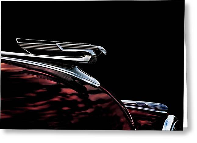Vintage Greeting Cards - 1940 Chevy Hood Ornament take 2 Greeting Card by Douglas Pittman
