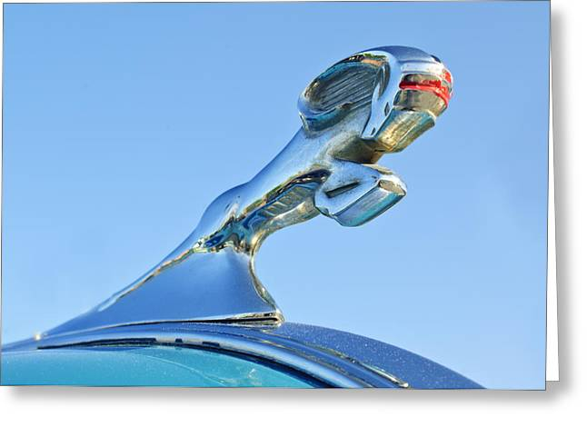 Car Mascots Greeting Cards - 1940 Dodge Business Coupe Hood Ornament Greeting Card by Jill Reger