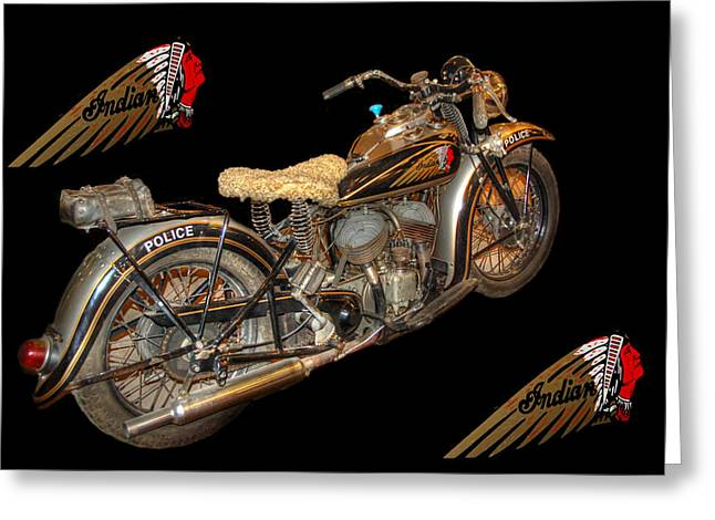 Police Motorcycles Greeting Cards - 1940 Indian Scout Police Unit version 3 Greeting Card by Ken Smith