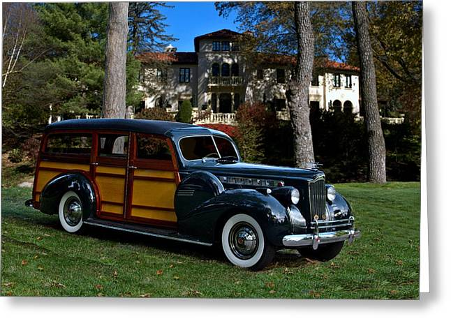 Station Wagon Greeting Cards - 1940 Packard Cantrell Woody Station Wagon Greeting Card by Tim McCullough