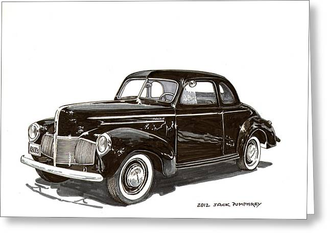 80s Greeting Cards - 1940 Studebaker Business Coupe Greeting Card by Jack Pumphrey