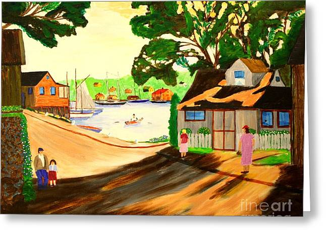 Bill Hubbard Greeting Cards - 1940s Smith Cove from Rocky Neck Gloucester MA Greeting Card by Bill Hubbard