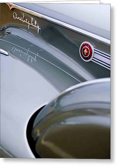 1907 Greeting Cards - 1941 Packard 1907 Custom Eight One-Eighty LeBaron Sport Brougham Side Emblems Greeting Card by Jill Reger