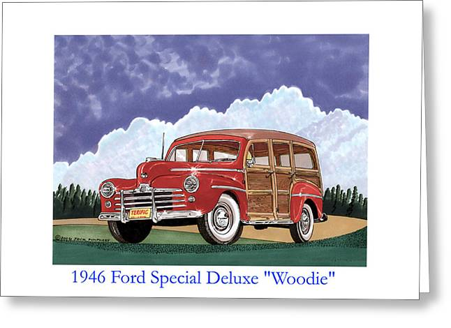 Wagon Drawings Greeting Cards - 1946 Ford WOODY Greeting Card by Jack Pumphrey