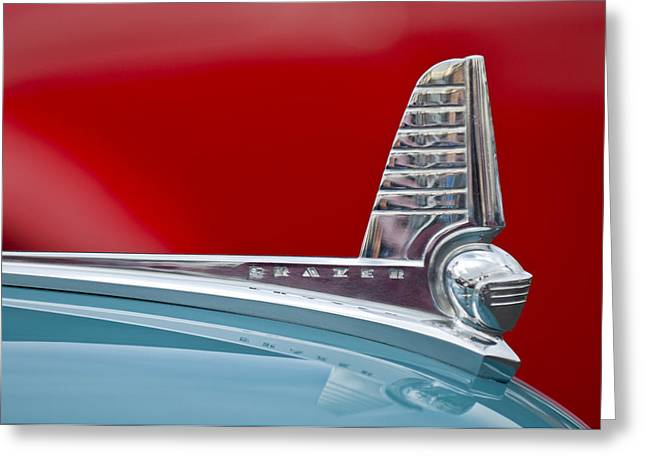 Recently Sold -  - Collector Hood Ornament Greeting Cards - 1947 Kaiser-Frazer Hood Ornament Greeting Card by Jill Reger