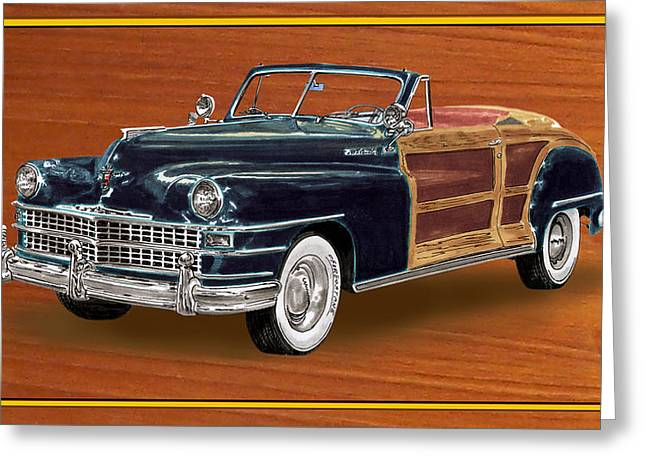 Station Wagon Paintings Greeting Cards - 1948 Chrysler Town and Country Greeting Card by Jack Pumphrey