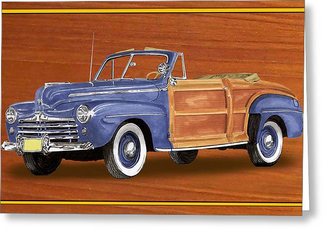 Surfing Art Print Paintings Greeting Cards - 1948 Ford Sportsman Convert. Greeting Card by Jack Pumphrey