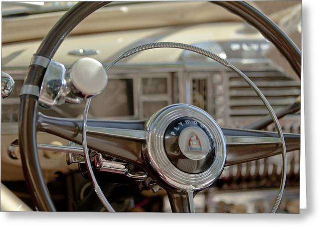 1948 Greeting Cards - 1948 Plymouth Deluxe Steering Wheel Greeting Card by Jill Reger