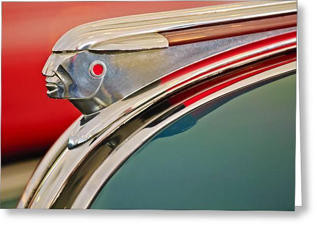 1948 Pontiac Chief Hood Ornament Greeting Card by Jill Reger