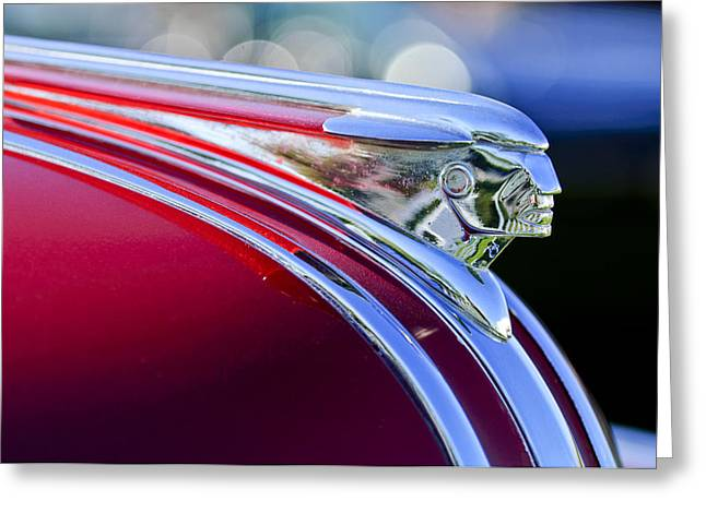 Station Wagon Greeting Cards - 1948 Pontiac Streamliner Woodie Station Wagon Hood Ornament Greeting Card by Jill Reger