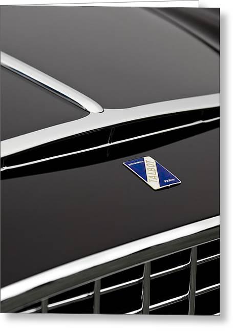 1948 Talbot-lago T26 Grand Sport Franay Cabtiolet Hood Emblem Greeting Card by Jill Reger