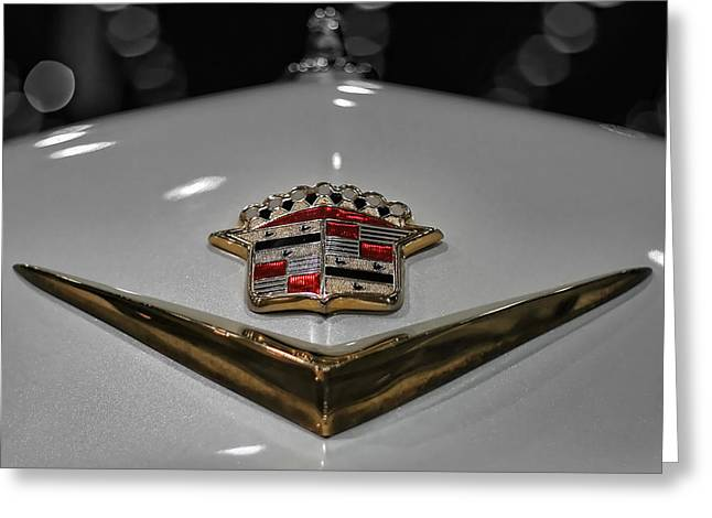 Gold Trim Greeting Cards - 1949 Cadillac Hood Ornament Greeting Card by Gordon Dean II