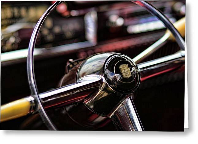1949 Cadillac Steering Wheel Greeting Card by Gordon Dean II