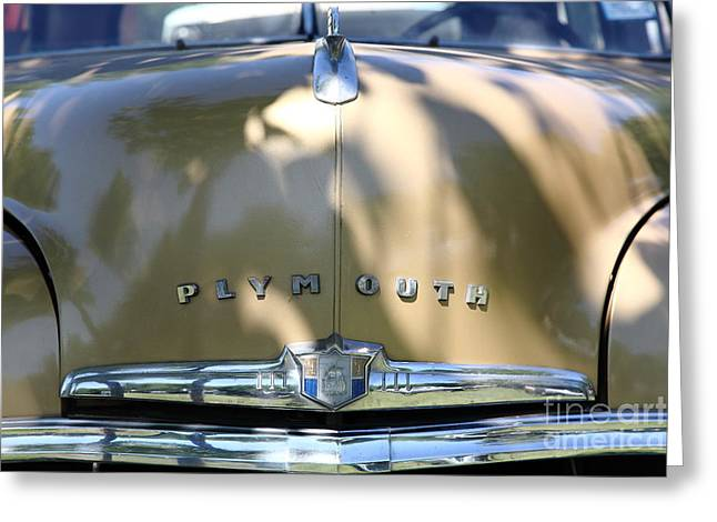 1949 Plymouth Greeting Cards - 1949 Plymouth Delux Sedan . 5D16206 Greeting Card by Wingsdomain Art and Photography