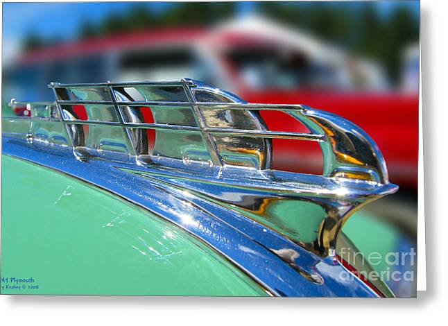 1949 Plymouth Photographs Greeting Cards - 1949 Plymouth Hood Ornament Greeting Card by Larry Keahey