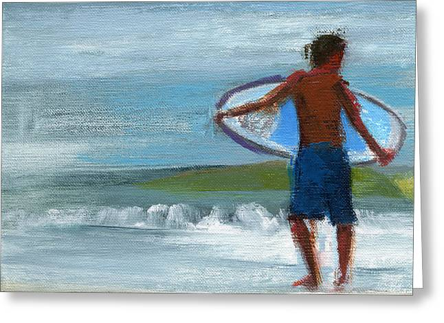Surfer Paintings Greeting Cards - RCNpaintings.com Greeting Card by Chris N Rohrbach