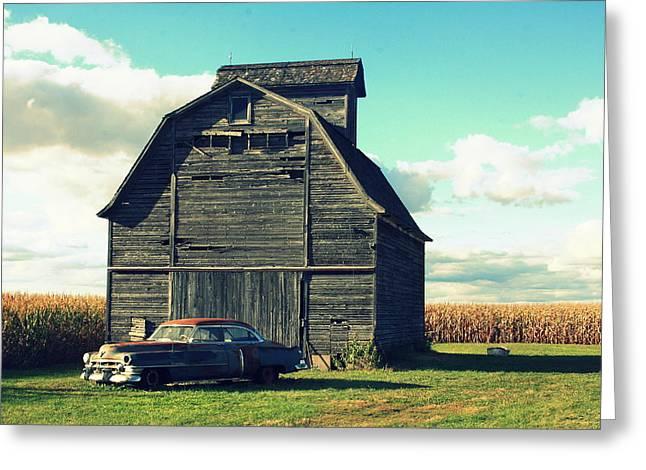Lyle Hatch Greeting Cards - 1950 Cadillac Barn Cornfield Greeting Card by Lyle Hatch