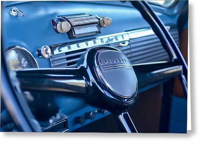 Chevrolet 3100 Greeting Cards - 1950 Chevrolet 3100 Pickup Truck Steering Wheel Greeting Card by Jill Reger