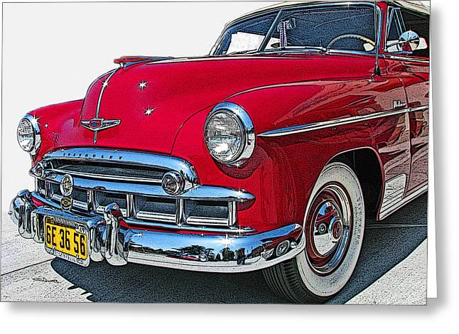 Samuel Sheats Greeting Cards - 1950 Chevrolet Fleetline Deluxe Convertible Greeting Card by Samuel Sheats