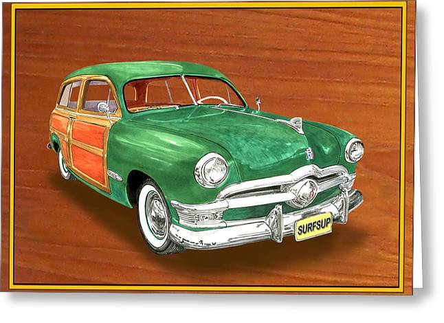 Country Framed Prints Greeting Cards - 1950 Ford Country Squire Woody Greeting Card by Jack Pumphrey