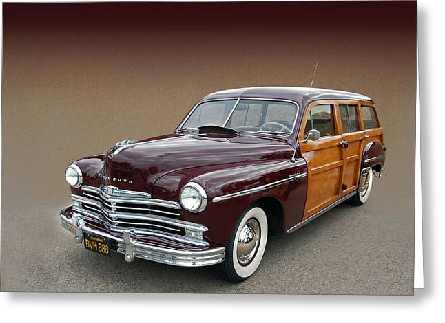 Mopar Collector Greeting Cards - 1950 Plymouth Special Deluxe Woody  Greeting Card by Bill Dutting