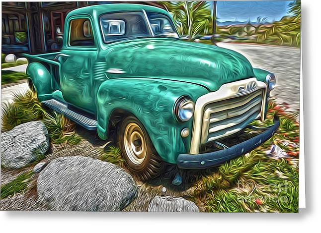 Gregory Dyer Greeting Cards - 1950s GMC Truck Greeting Card by Gregory Dyer