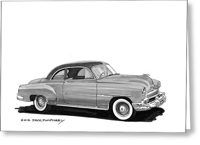 80s Greeting Cards - 1951 Chevrolet Coupe Greeting Card by Jack Pumphrey