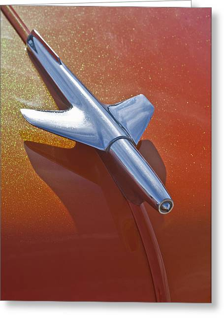 1951 Greeting Cards - 1951 Chevrolet Hood Ornament 3 Greeting Card by Jill Reger