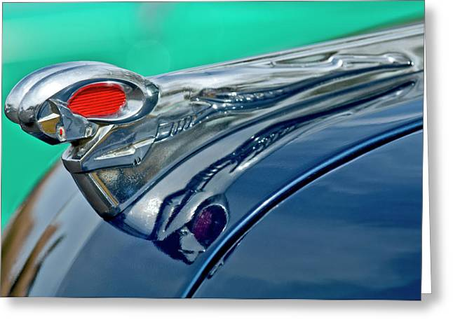 Car Mascot Greeting Cards - 1951 Dodge Pilot House Pickup Hood Ornament Greeting Card by Jill Reger