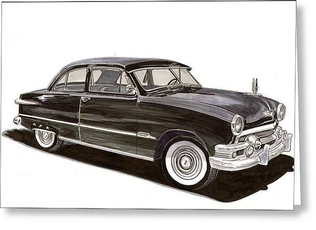 80s Greeting Cards - 1951 Ford 2 dr Sedan Greeting Card by Jack Pumphrey