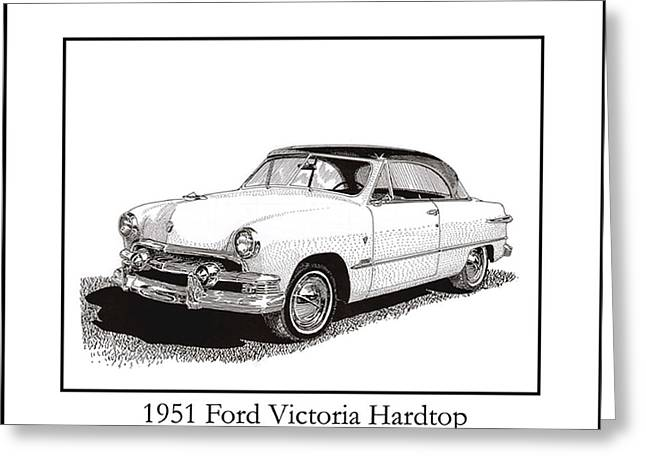 Pen And Ink Framed Prints Greeting Cards - 1951 Ford Victoria Hardtop Greeting Card by Jack Pumphrey