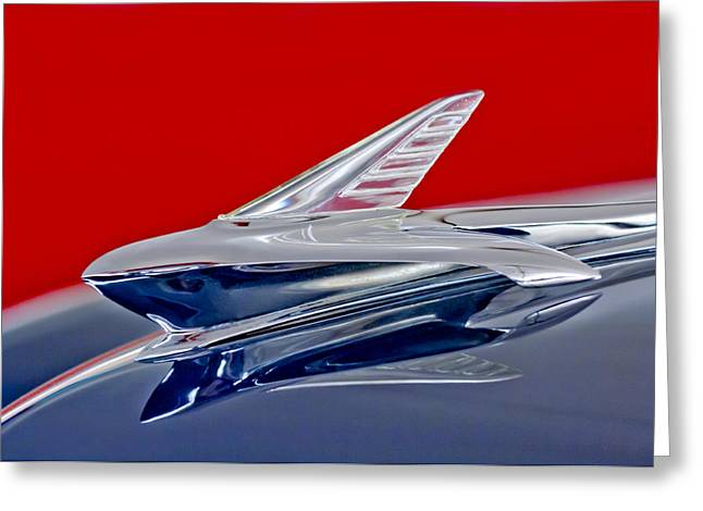 1951 Greeting Cards - 1951 Ford Woodie Hood Ornament Greeting Card by Jill Reger