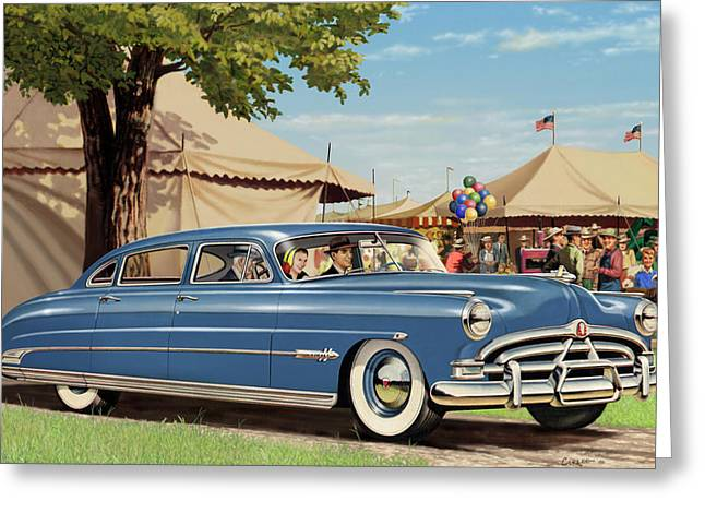 Rustic Decor Greeting Cards - 1951 Hudson Hornet fair americana antique car auto nostalgic rural country scene landscape painting Greeting Card by Walt Curlee