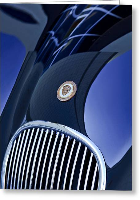 1951 Greeting Cards - 1951 Jaguar Proteus C-Type Grille Emblem 4 Greeting Card by Jill Reger
