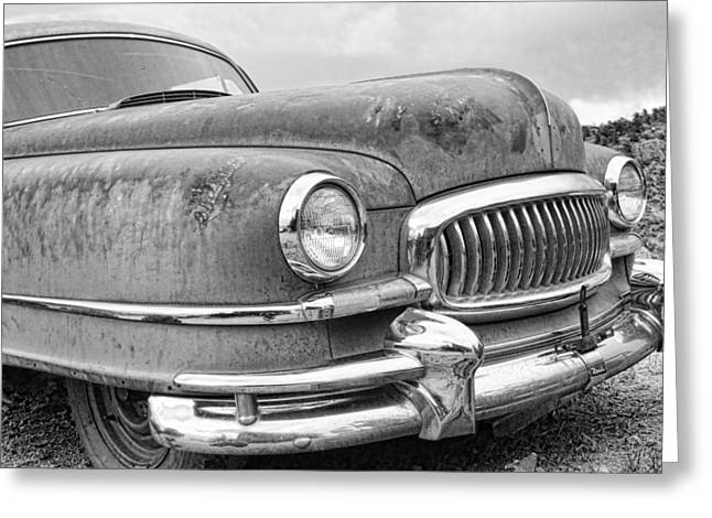 1951 Greeting Cards - 1951 Nash Ambassador Front End BW Greeting Card by James BO  Insogna