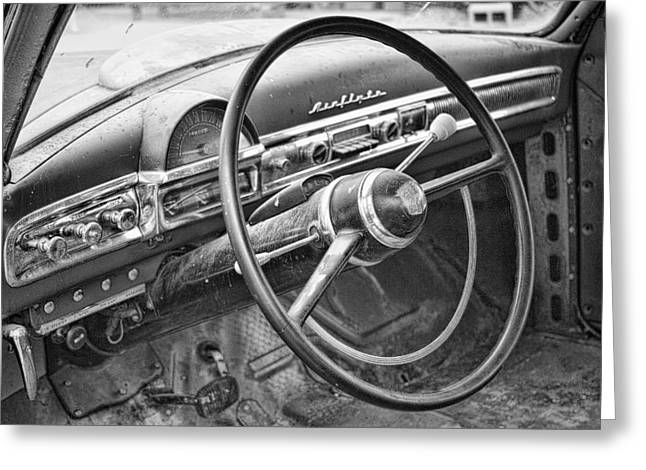 1951 Greeting Cards - 1951 Nash Ambassador Interior BW Greeting Card by James BO  Insogna