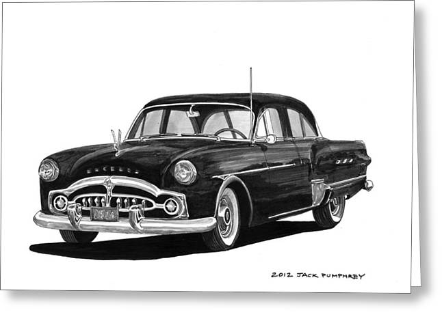 Pen And Ink Framed Prints Greeting Cards - 1951 Packard Patrician 400 Greeting Card by Jack Pumphrey