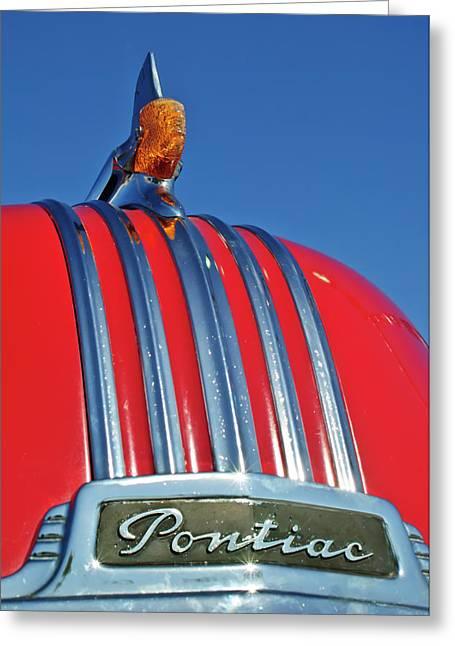 1951 Greeting Cards - 1951 Pontiac Chief Hood Ornament 2 Greeting Card by Jill Reger