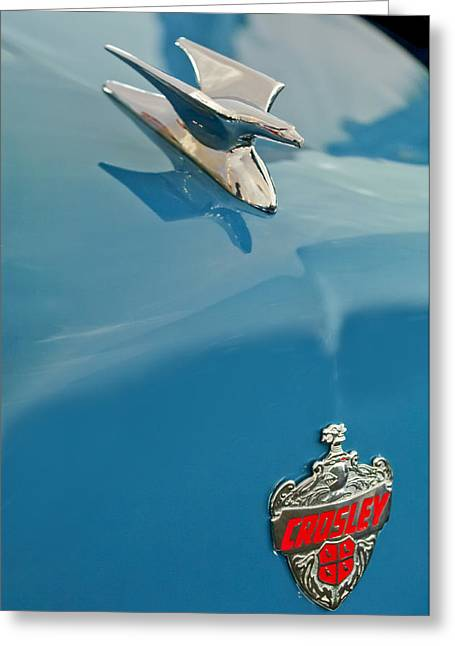 Car Mascot Greeting Cards - 1952 Crosley Super Woody Wagon Hood Ornament Greeting Card by Jill Reger