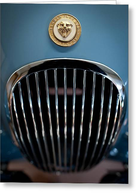 Garage Greeting Cards - 1952 Jaguar Hood Ornament and Grille Greeting Card by Sebastian Musial