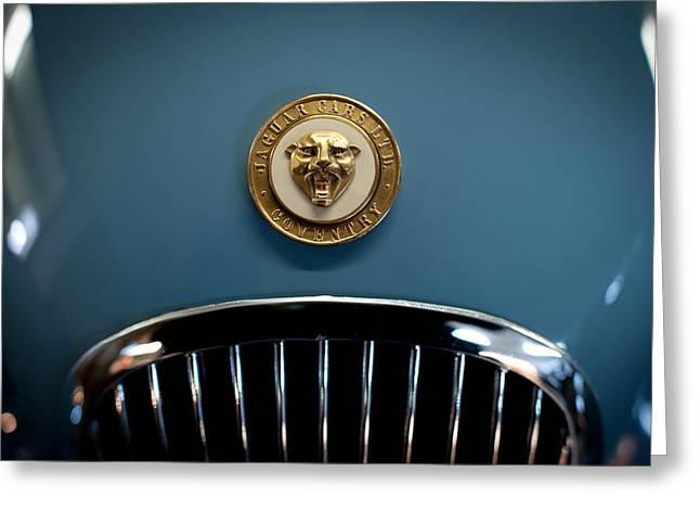 1952 Jaguar Hood Ornament Greeting Card by Sebastian Musial