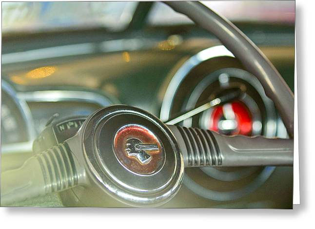 Chieftains Greeting Cards - 1952 Pontiac Chieftain Steering Wheel Emblem Greeting Card by Jill Reger