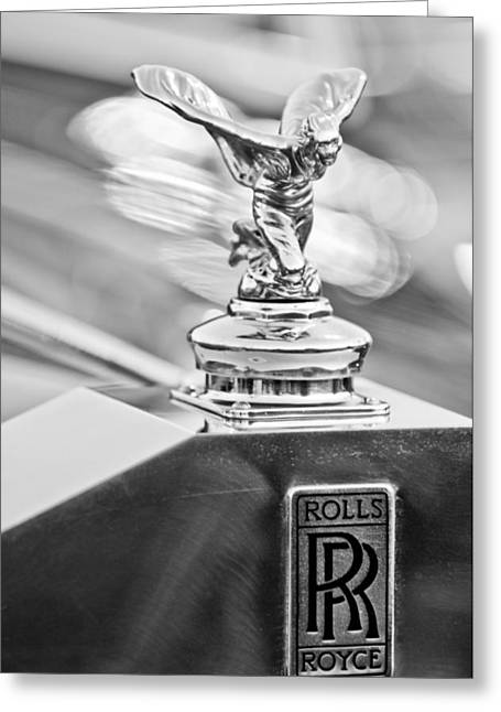 Recently Sold -  - Collector Hood Ornament Greeting Cards - 1952 Rolls-Royce Silver Wraith Hood Ornament 2 Greeting Card by Jill Reger