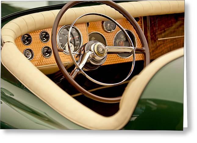 Maverick Greeting Cards - 1952 Sterling Gladwin Maverick Sportster Steering Wheel Greeting Card by Jill Reger