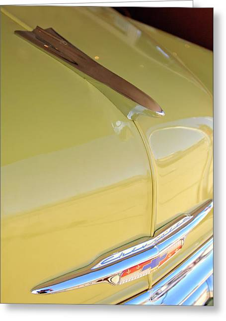 Car Mascot Greeting Cards - 1953 Chevrolet Bel Air Hood Ornament Greeting Card by Jill Reger