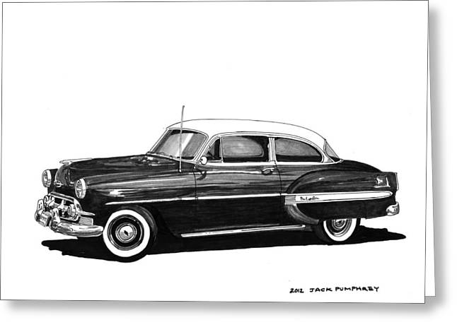 80s Greeting Cards - 1953 Chevrolet Post 2 dr sedan Greeting Card by Jack Pumphrey