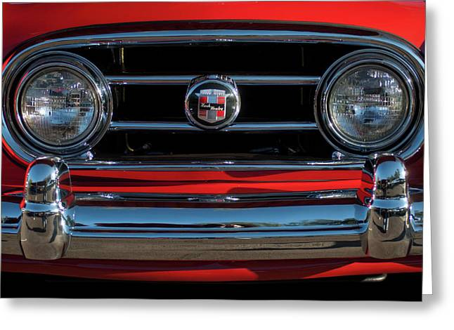Roadster Grill Greeting Cards - 1953 Nash Healey Roadster Grille Greeting Card by Jill Reger