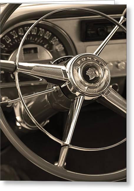 1953 Pontiac Greeting Cards - 1953 Pontiac Steering Wheel - Sepia Greeting Card by Jill Reger
